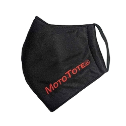 MotoTote face mask red lettering on black